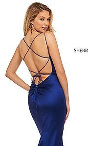 Image of open-back designer prom dress with scoop neckline. Style: SH-52613 Detail Image 6