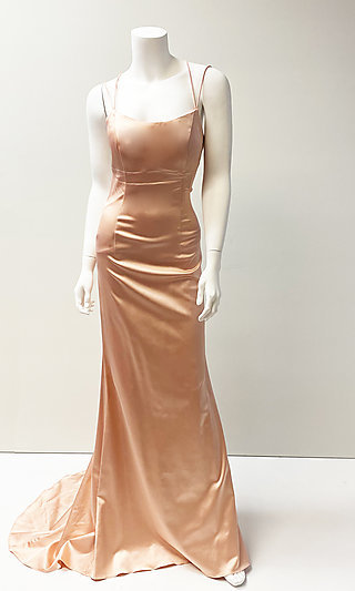 Strappy Open-Back Long Prom Dress with Empire Waist