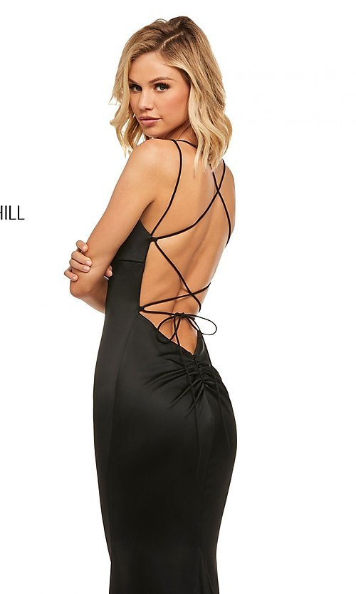Image of open-back designer prom dress with scoop neckline. Style: SH-52613 Detail Image 2