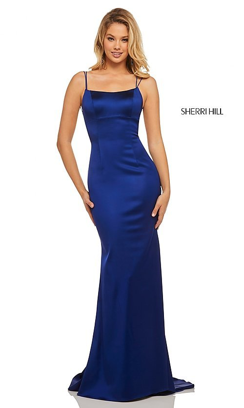Image of open-back designer prom dress with scoop neckline. Style: SH-52613 Detail Image 3