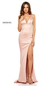 Image of v-neck long side-slit prom dress by Sherri Hill. Style: SH-52549 Detail Image 2