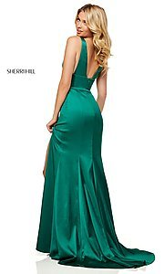 Image of v-neck long side-slit prom dress by Sherri Hill. Style: SH-52549 Detail Image 6