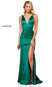Image of v-neck long side-slit prom dress by Sherri Hill. Style: SH-52549 Detail Image 7
