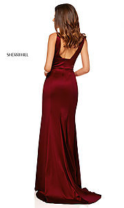 Image of v-neck long side-slit prom dress by Sherri Hill. Style: SH-52549 Back Image