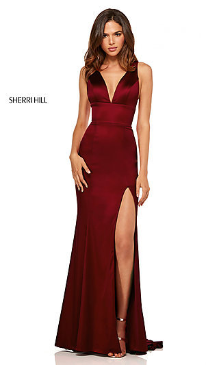 V-Neck Long Side-Slit Prom Dress by Sherri Hill