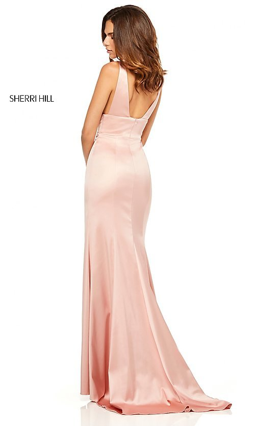 Image of v-neck long side-slit prom dress by Sherri Hill. Style: SH-52549 Detail Image 3