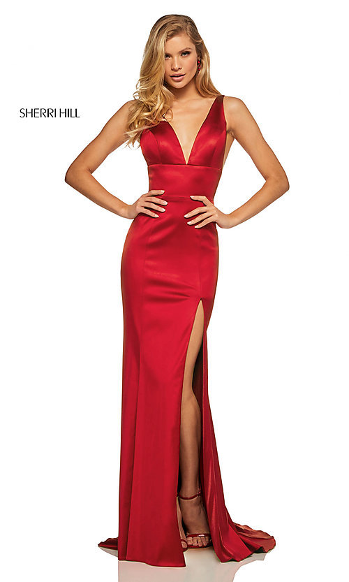 Image of v-neck long side-slit prom dress by Sherri Hill. Style: SH-52549 Detail Image 1