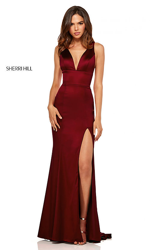 Image of v-neck long side-slit prom dress by Sherri Hill. Style: SH-52549 Front Image