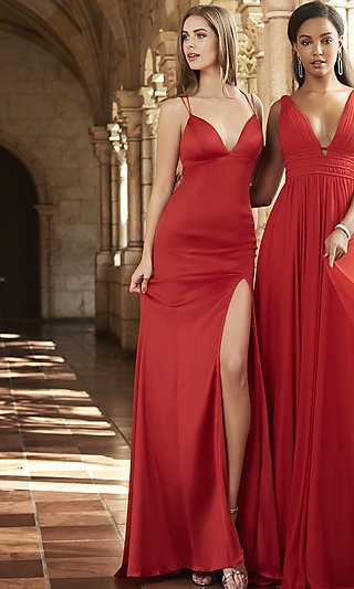 V-Neck Long Prom Dress with Corset-Tie Back