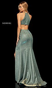 Image of high-neck metallic formal prom dress by Sherri Hill. Style: SH-52481 Detail Image 4