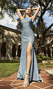 Image of high-neck metallic formal prom dress. Style: SH-52481 Front Image