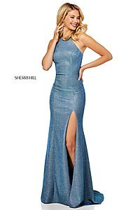 Image of high-neck metallic formal prom dress by Sherri Hill. Style: SH-52481 Front Image
