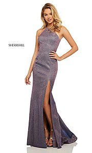 Image of high-neck metallic formal prom dress by Sherri Hill. Style: SH-52481 Detail Image 1