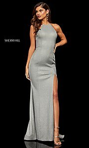 Image of high-neck metallic formal prom dress by Sherri Hill. Style: SH-52481 Detail Image 5