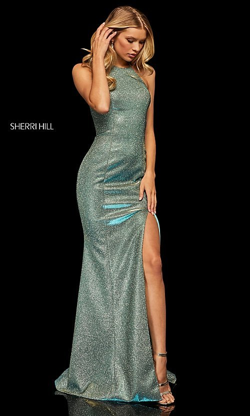 Image of high-neck metallic formal prom dress by Sherri Hill. Style: SH-52481 Detail Image 3