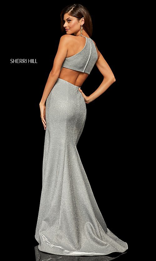 Image of high-neck metallic formal prom dress by Sherri Hill. Style: SH-52481 Detail Image 6