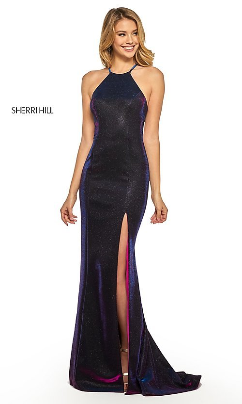 Image of high-neck metallic formal prom dress by Sherri Hill. Style: SH-52481 Detail Image 7