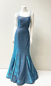 Image of strappy open-back long stretch glitter prom dress. Style: SH-52614 Detail Image 2