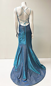 Image of strappy open-back long stretch glitter prom dress. Style: SH-52614 Detail Image 3