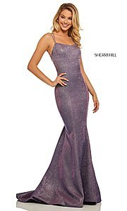 Image of corset-back long shimmer prom dress by Sherri Hill. Style: SH-52614 Back Image