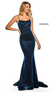 Image of corset-back long shimmer prom dress by Sherri Hill. Style: SH-52614 Detail Image 7