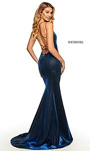 Image of corset-back long shimmer prom dress by Sherri Hill. Style: SH-52614 Detail Image 8