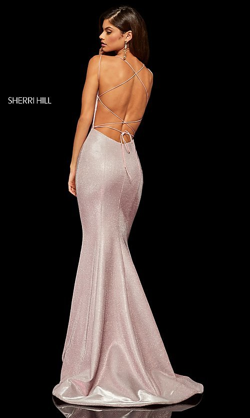 Image of corset-back long shimmer prom dress by Sherri Hill. Style: SH-52614 Detail Image 6