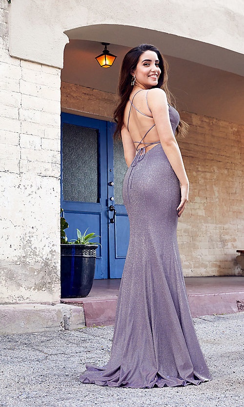 Image of strappy open-back long stretch glitter prom dress. Style: SH-52614 Front Image