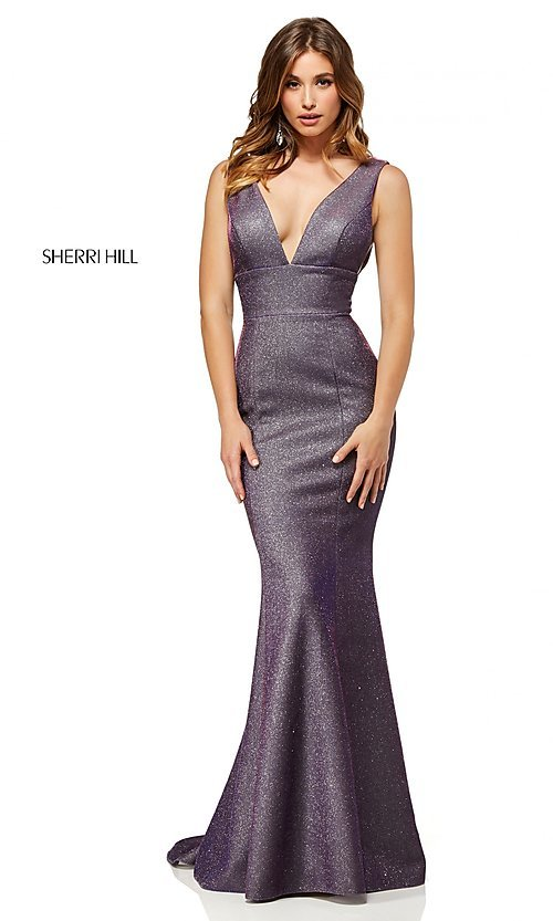 Image of long v-neck shimmer prom dress by Sherri Hill. Style: SH-52480 Front Image
