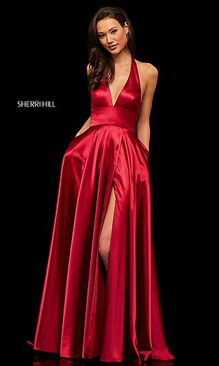 Long Deep-V-Neck Halter Designer Prom Dress