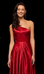 Image of long one-shoulder Sherri Hill prom dress with slit. Style: SH-52750 Detail Image 7