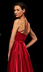 Image of long one-shoulder Sherri Hill prom dress with slit. Style: SH-52750 Detail Image 8