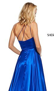 Image of long one-shoulder Sherri Hill prom dress with slit. Style: SH-52750 Detail Image 4