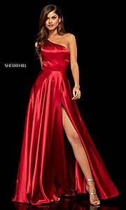 Image of long one-shoulder Sherri Hill prom dress with slit. Style: SH-52750 Front Image