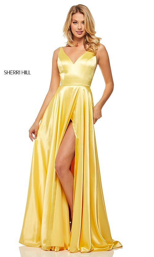 Long Designer Satin Prom Dress with V-Back - PromGirl