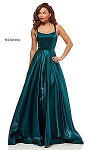 Image of metallic long a-line Sherri Hill prom dress. Style: SH-52457 Detail Image 1