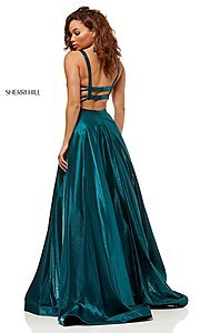 Image of metallic long a-line Sherri Hill prom dress. Style: SH-52457 Detail Image 2
