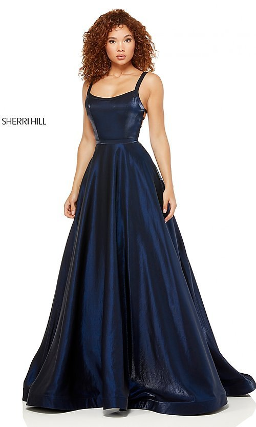Image of metallic long a-line Sherri Hill prom dress. Style: SH-52457 Front Image