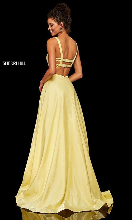 Image of metallic long a-line Sherri Hill prom dress. Style: SH-52457 Detail Image 6