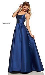 Image of caged-back long Sherri Hill prom dress with pockets. Style: SH-52715 Detail Image 6