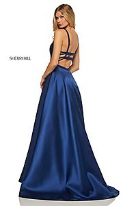 Image of caged-back long Sherri Hill prom dress with pockets. Style: SH-52715 Detail Image 7