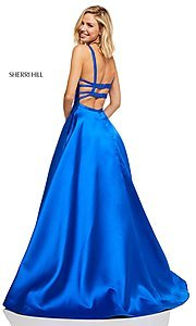 Image of caged-back long Sherri Hill prom dress with pockets. Style: SH-52715 Detail Image 2
