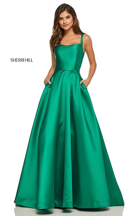 Image of caged-back long Sherri Hill prom dress with pockets. Style: SH-52715 Detail Image 8