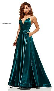 Image of long metallic a-line v-neck Sherri Hill prom dress. Style: SH-52424 Detail Image 1