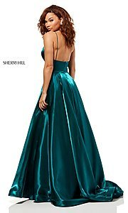 Image of long metallic a-line v-neck Sherri Hill prom dress. Style: SH-52424 Detail Image 2