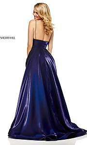 Image of long metallic a-line v-neck Sherri Hill prom dress. Style: SH-52424 Back Image