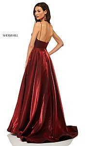 Image of long metallic a-line v-neck Sherri Hill prom dress. Style: SH-52424 Detail Image 4