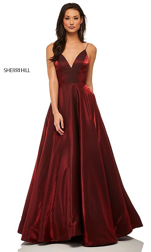 Image of long metallic a-line v-neck Sherri Hill prom dress. Style: SH-52424 Detail Image 3