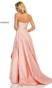 Image of long spaghetti-strap prom dress by Sherri Hill. Style: SH-52602 Back Image