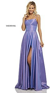 Image of long spaghetti-strap prom dress by Sherri Hill. Style: SH-52602 Detail Image 7